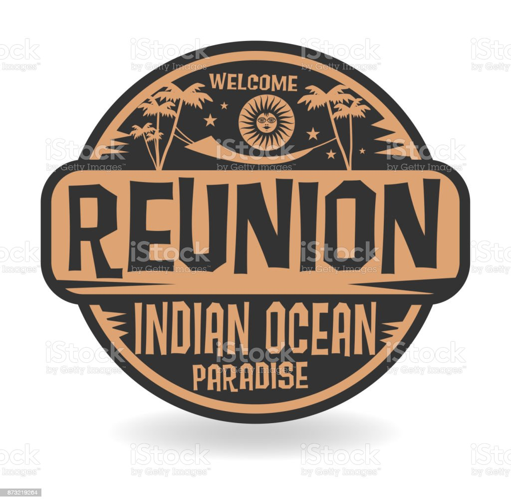 Stamp or label with the name of Reunion, Indian Ocean vector art illustration