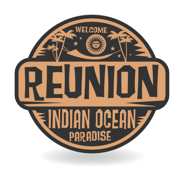 stamp or label with the name of reunion, indian ocean - reunion stock illustrations, clip art, cartoons, & icons