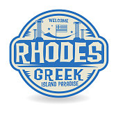 Stamp or label with the name of Rhodes, Greek Island Paradise