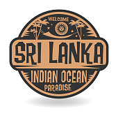 Stamp or label with the name of Sri Lanka, Indian Ocean