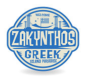 Stamp or label with the name of Zakynthos, Greek Island Paradise