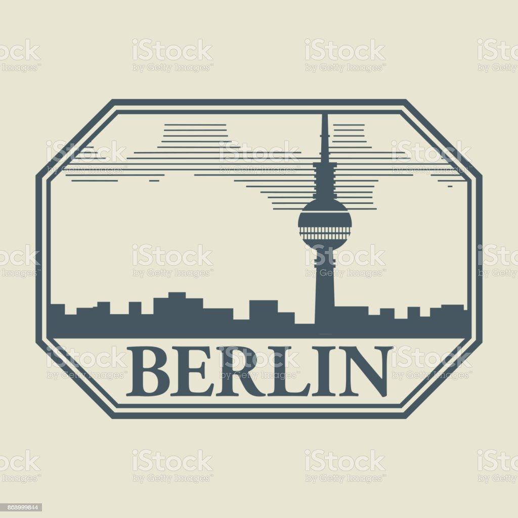 Stempel oder Aufkleber mit Wort Berlin im Inneren – Vektorgrafik