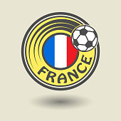 Stamp or label with word France, football theme, vector illustration
