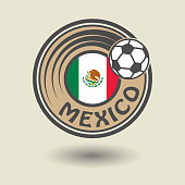 Stamp or label with word Mexico, football theme, vector illustration