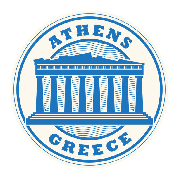 Stamp or label with words Athens, Greece vector art illustration