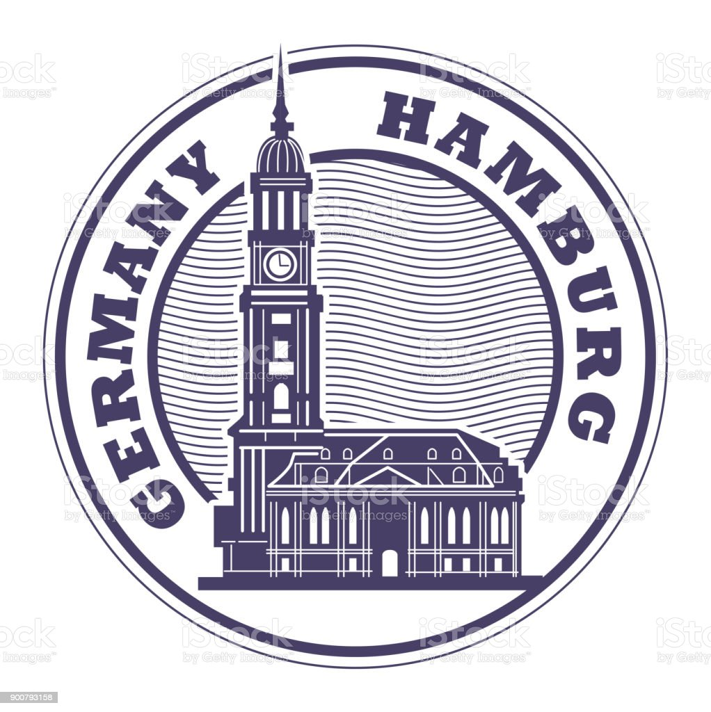 Stamp or label with words Hamburg, Germany vector art illustration
