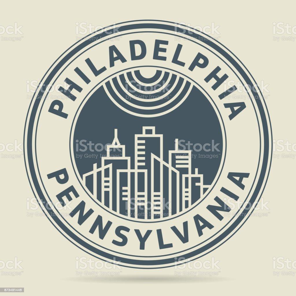 Stamp Philadelphia Pennsylvania Stock Illustration