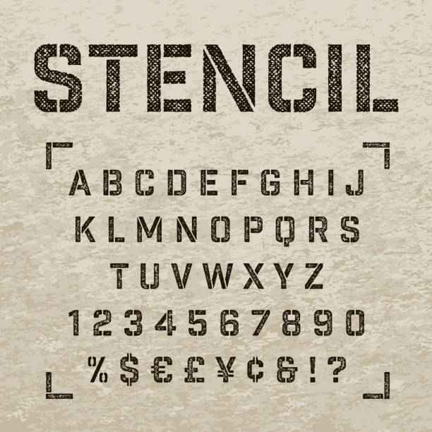 stamp stencil letters, numbers and symbols. grunge alphabet. - graffiti struktur stock-grafiken, -clipart, -cartoons und -symbole