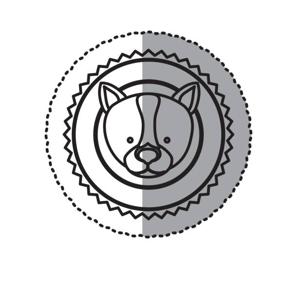 스탬프 스티커 실루엣 거친 개 동물 - 강아지 실루엣 stock illustrations