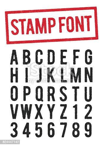 Vector illustration of worn stamp typeface (use the O for the zero)