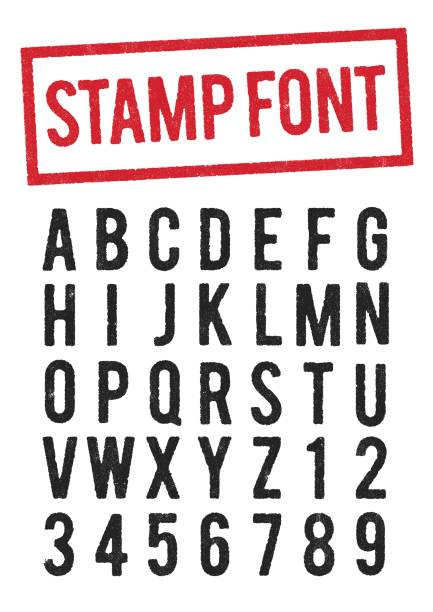 Stamp typeface Vector illustration of worn stamp typeface (use the O for the zero) alphabet borders stock illustrations