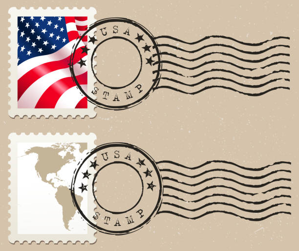 stamp drawing of vector stamp with USA map and flag.date of creation: 18.03.2011. layers used: outlines. created by illustrator cs3. source of map: http://www.lib.utexas.edu/maps/world_maps/txu-oclc-264266980-world_pol_2008-2.jpg postage stamp stock illustrations