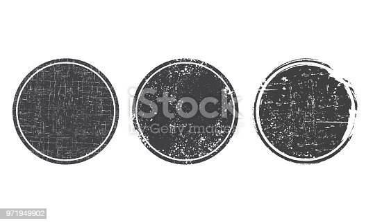 Set of grunge round black post stamps. Blank vector shapes with distress textures
