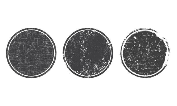 Stamp Set of grunge round black post stamps. Blank vector shapes with distress textures demolished stock illustrations