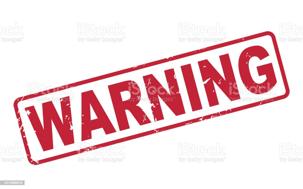 stamp warning with red text on white vector art illustration