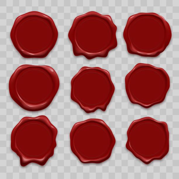pieczęć wosk pieczęć pieczęć wektor ikony zestaw czerwony wosk uszczelniający stary realistyczne znaczki etykiety na przezroczystym tle - pieczęć znaczek stock illustrations