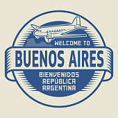 Stamp Welcome to Buenos Aires, Argentina
