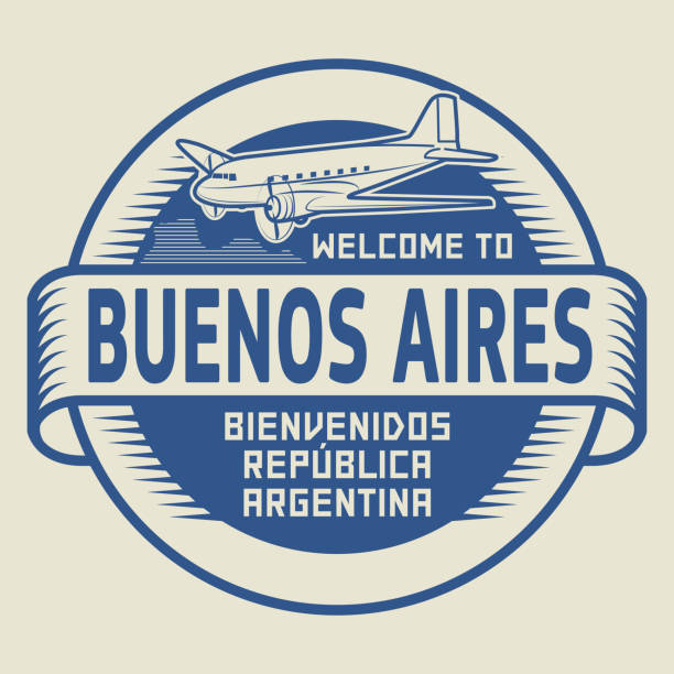 Stamp Welcome to Buenos Aires, Argentina vector art illustration