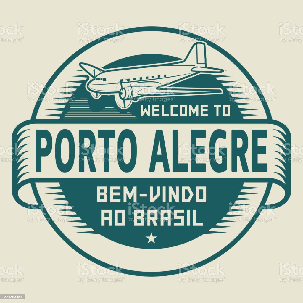 Stamp with airplane and text Welcome to Porto Alegre, Brasil vector art illustration