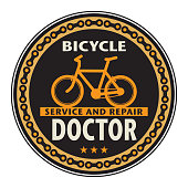 Stamp with bicycle and the words Bicycle Doctor