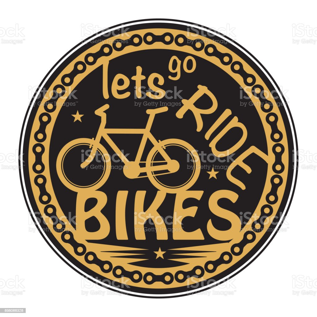 Stamp with bicycle and the words Lets go ride Bikes