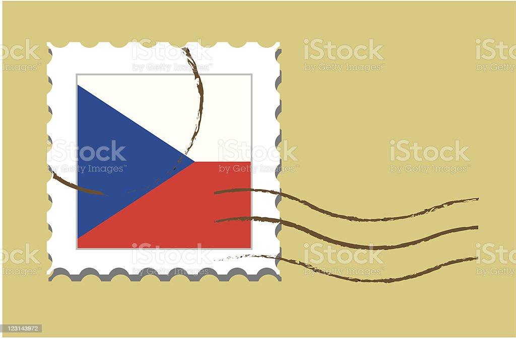 Stamp with Czech flag vector art illustration