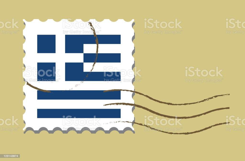 Stamp with Greek flag royalty-free stock vector art