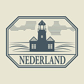 Stamp with Lighthouse and name of Netherlands, vector illustration