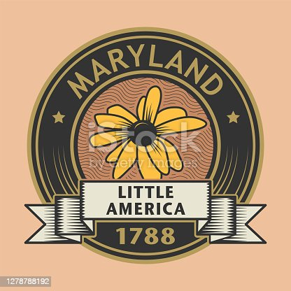 Stamp with name of Maryland, Little America, vector illustration