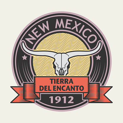 Stamp with name of New Mexico, Tierra del Encanto