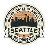 Stamp with name of Washington, Seattle