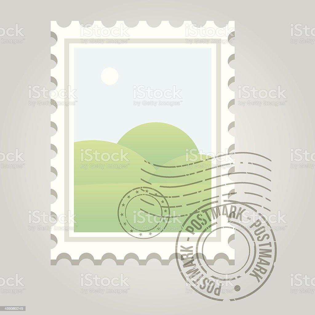 Stamp with postmark and landscape vector art illustration