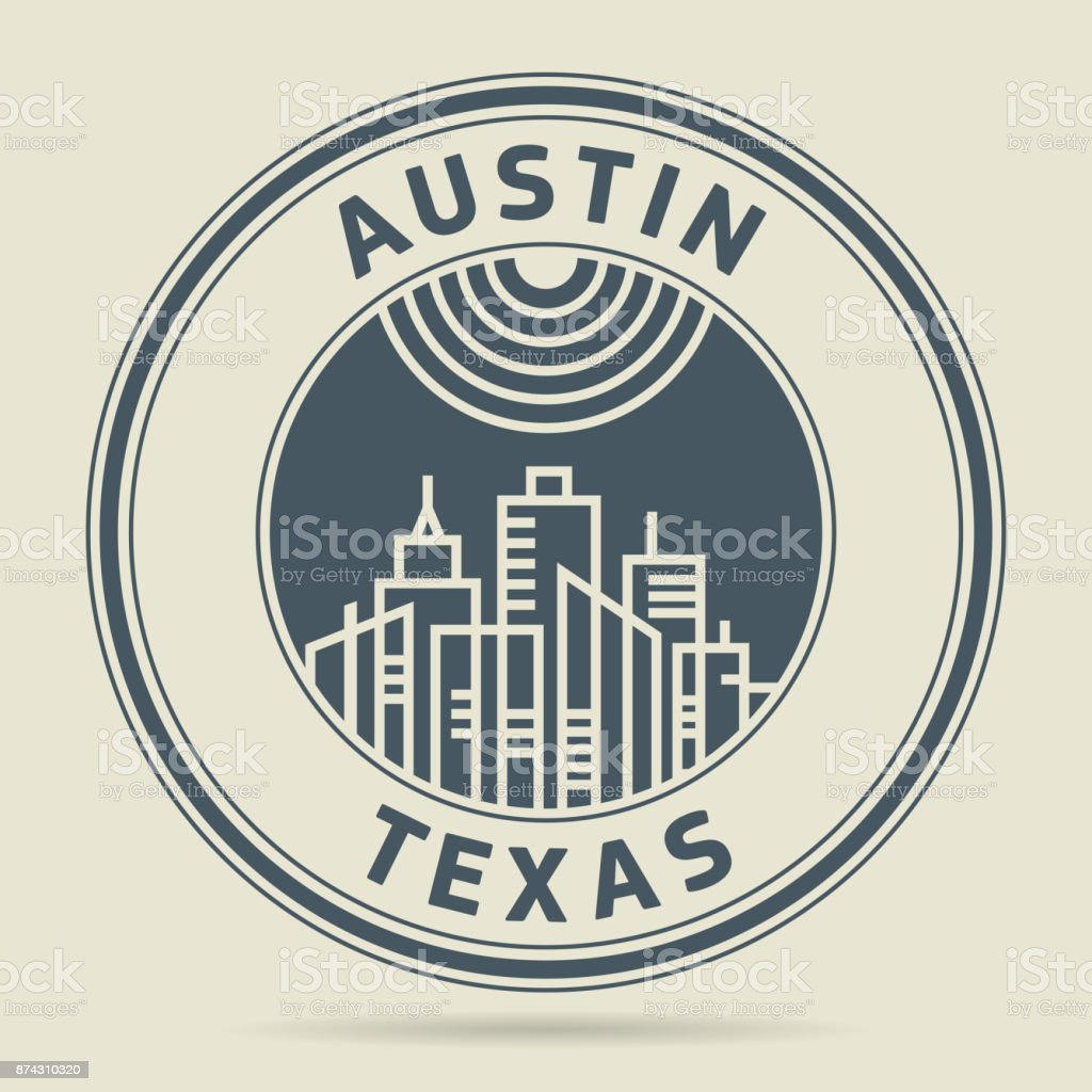 Stamp with text Austin, Texas vector art illustration