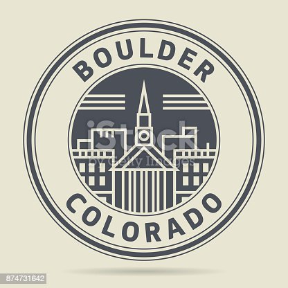 Stamp or label with text Boulder, Colorado written inside, vector illustration