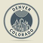 Stamp with text Denver, Colorado