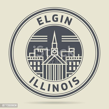 Stamp or label with text Elgin, Illinois written inside, vector illustration