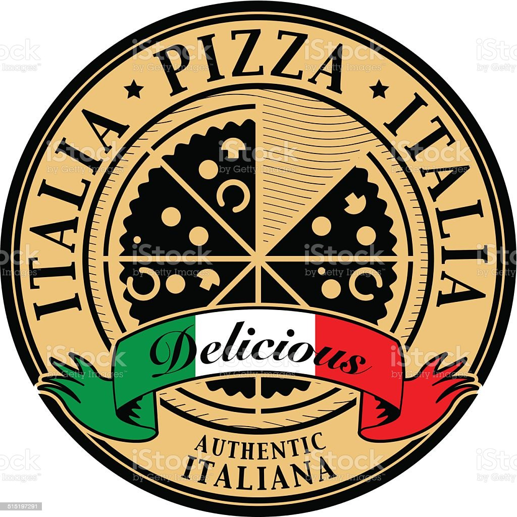 Stamp with text Italia Pizza vector art illustration