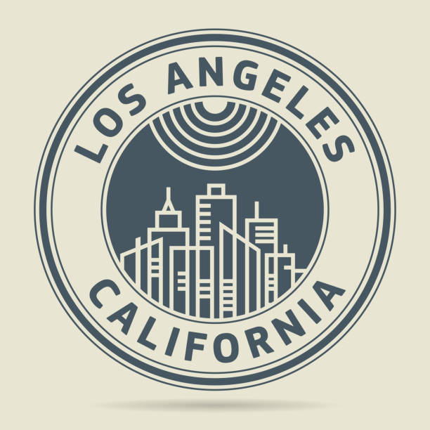 stamp with text los angeles, califronia - los angeles stock illustrations