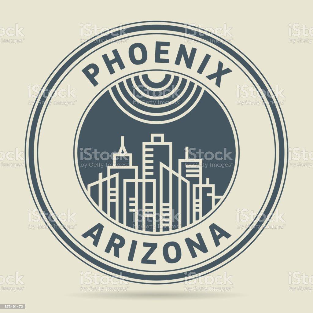 Stamp with text Phoenix, Arizona vector art illustration