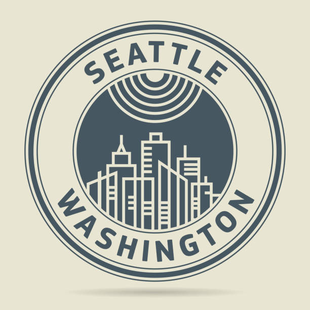 ilustraciones, imágenes clip art, dibujos animados e iconos de stock de sello con texto de seattle, washington - seattle