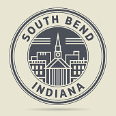 Stamp or label with text South Bend, Indiana written inside, vector illustration