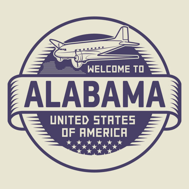stamp with text welcome to alabama, usa - alabama stock illustrations
