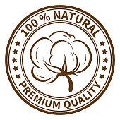 Stamp with the cotton boll and the text 100% natural, premium quality