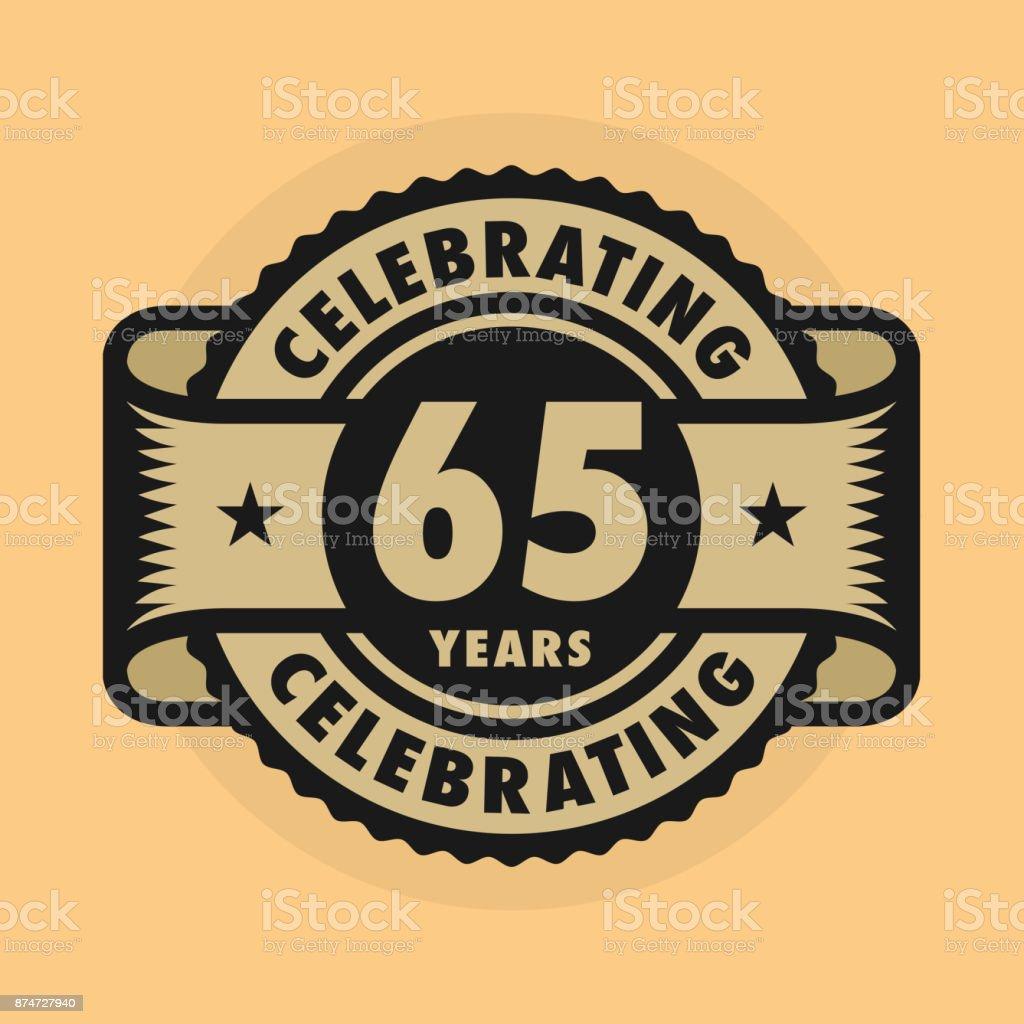 Stempel Met De Tekst Celebrating 65 Jaar Verjaardag Stockvectorkunst