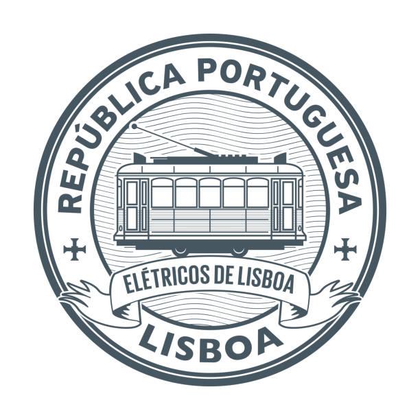 ilustrações de stock, clip art, desenhos animados e ícones de stamp with tram, lisbon - eletrico lisboa