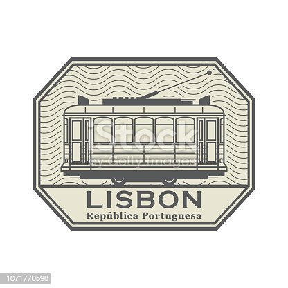 Stamp with Tram and the words Lisbon, Portuguese Republic (on portuguese language) written inside, vector illustration