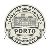 Stamp with Tram, buildings and the words Porto, Portuguese Republic, Historic Centre of Porto (on portuguese language) written inside, vector illustration