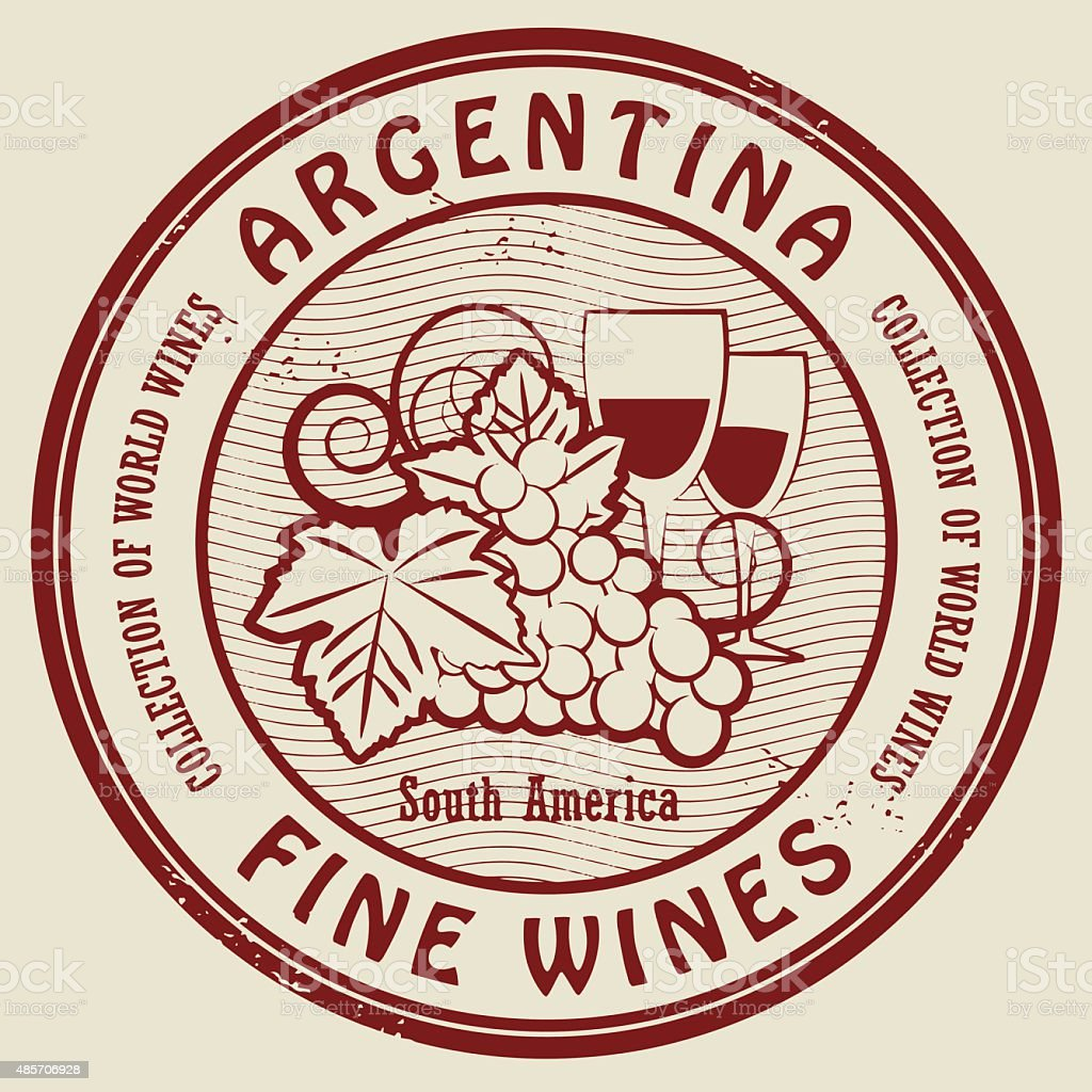 Stamp with words Argentina, Fine Wines vector art illustration