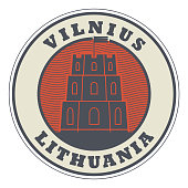 Stamp with words Vilnius, Lithuania