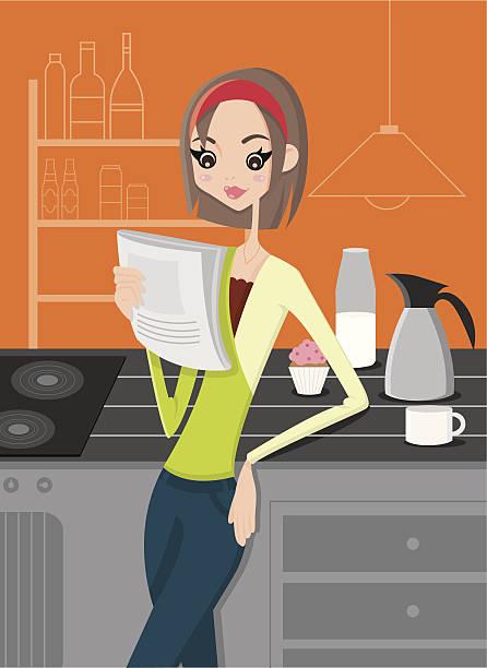 stockillustraties, clipart, cartoons en iconen met stampa - woman home magazine